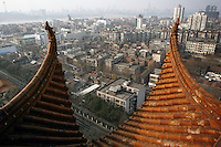 CHINA. Hubei Province. Wuhan. A view of Wuhan from The Yellow Crane Tower which looks over the Yangtze and the city of Wuhan.Wuhan (population 4.3 million) is a sprawling city that sits on both sides of the Yangtze River.  2008..