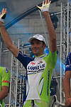 Liquigas-Cannondale team rider Ivan Basso (ITA) on stage at the Team Presentation Ceremony before the 2012 Tour de France in front of The Palais Provincial, Place Saint-Lambert, Liege, Belgium. 28th June 2012.<br /> (Photo by Eoin Clarke/NEWSFILE)