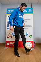 Friday 10 February 2017<br /> Pictured: Events manager Ian Robson palaces with a football Re:Welsh Government Dementia Risk Prevention Roadshow at the BT building, Swansea, Wales, UK