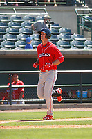 Lakewood BlueClaws outfielder Cord Sandberg (32)  rounding the bases after homering during a game against the Charleston RiverDogs on May 3, 2017 at Joseph P. Riley Ballpark in Charleston, South Carolina. Lakewood defeated Charleston 10-6. (Robert Gurganus/Four Seam Images)