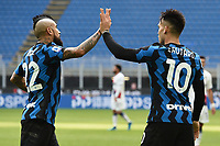 Lautaro Martinez of FC Internazionale celebrates with Arturo Vidal after scoring a goal during the Serie A football match between FC Internazionale and FC Crotone at stadio San Siro in Milano (Italy), January 3rd, 2021. Photo Daniele Buffa / Image Sport / Insidefoto