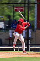 Philadelphia Phillies Marcus Lee Sang (9) bats during an Extended Spring Training game against the Toronto Blue Jays on June 12, 2021 at the Carpenter Complex in Clearwater, Florida. (Mike Janes/Four Seam Images)