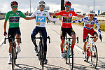 The winning jerseys Richard Carapaz (ECU) Ineos Grenadiers wearing the points Green Jersey for race winner Red Jersey Primoz Roglic (SLO) Team Jumbo-Visma, Enric Mas (ESP) Movistar Team young riders White Jersey and Guillaume Martin (FRA) Cofidis the mountains Polka Dot Jersey line up for the cameras during Stage 18 of the Vuelta Espana 2020, running 139.6km from Hipódromo de La Zarzuela to Madrid, Spain. 8th November 2020. <br /> Picture: Luis Angel Gomez/PhotoSportGomez | Cyclefile<br /> <br /> All photos usage must carry mandatory copyright credit (© Cyclefile | Luis Angel Gomez/PhotoSportGomez)