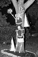 Life-sized skeletons are dressed up for Halloween decorations along Hillcrest Road in Belmont, Massachusetts, USA, on Mon., Oct. 30, 2017. A resident said the neighborhood has been doing similar coordinated decorations along the road for the previous 3 or 4 years.  In this image, the skeletons are dressed as Belmont High School cheerleaders.