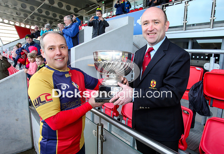 Saturday 6th April 2019 | 2019 Forester Cup Final<br /> <br /> Ballyclare captain Marc Fox receives the Forester Cup from Ulster Branch representative Greg Irwin after Ballyclare defeated Academy at Kingspan Stadium, Ravenhill Park, Belfast, Northern Ireland. Photo by John Dickson / DICKSONDIGITAL