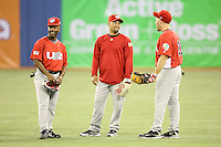 March 8, 2009:  Jimmy Rollins, Shane Victorino, and Kevin Youkilis of Team USA during batting practice before a game in the first round of the World Baseball Classic at the Rogers Centre in Toronto, Ontario, Canada.  Team USA defeated Venezuela  15-6 to secure a spot in the second round of the tournament.  Photo by:  Mike Janes/Four Seam Images