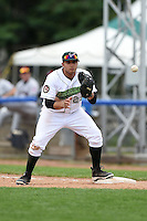 Jamestown Jammers third baseman Kevin Ross (23) waits for a throw during a game against the Mahoning Valley Scrappers on June 16, 2014 at Russell Diethrick Park in Jamestown, New York.  Mahoning Valley defeated Jamestown 2-1.  (Mike Janes/Four Seam Images)