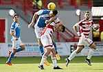 Hamilton Accies v St Johnstone…25.09.16.. New Douglas Park   SPFL<br />Joe Shaughnessy battle with Greg Docherty<br />Picture by Graeme Hart.<br />Copyright Perthshire Picture Agency<br />Tel: 01738 623350  Mobile: 07990 594431