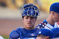 Lexington Legends catcher Kyle Pollock (16) in the bullpen during a game against the Hagerstown Suns on May 22, 2015 at Whitaker Bank Ballpark in Lexington, Kentucky.  Lexington defeated Hagerstown 5-1.  (Mike Janes/Four Seam Images)