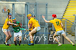 Paudie O'Connor, Kerry in action against Keelan Molloy, Antrim during the Joe McDonagh Cup Final match between Kerry and Antrim at Croke Park in Dublin.
