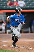 Brendan McKay (38) of the Hudson Valley Renegades hustles down the first base line against the Aberdeen IronBirds at Leidos Field at Ripken Stadium on July 27, 2017 in Aberdeen, Maryland.  The Renegades defeated the IronBirds 2-0 in game one of a double-header.  (Brian Westerholt/Four Seam Images)