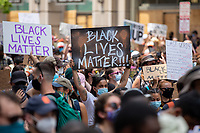 Protesters lift up Black Lives Matter signs during a march against police brutality and racism in Washington, D.C. on Saturday, June 6, 2020.<br /> Credit: Amanda Andrade-Rhoades / CNP/AdMedia
