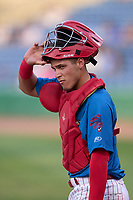 Clearwater Threshers catcher Abrahan Gutierrez (10) during a game against the Dunedin Blue Jays on May 18, 2021 at BayCare Ballpark in Clearwater, Florida.  (Mike Janes/Four Seam Images)