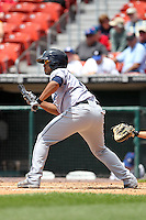 Columbus Clippers third baseman Gregorio Petit #11 during a game against the Buffalo Bisons at Coca-Cola Field on May 31, 2012 in Buffalo, New York.  Columbus defeated Buffalo 3-0.  (Mike Janes/Four Seam Images)