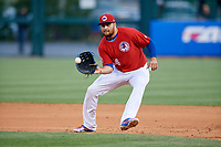 Buffalo Bisons first baseman Rowdy Tellez (34) fields a ground ball during a game against the Scranton/Wilkes-Barre RailRiders on May 18, 2018 at Coca-Cola Field in Buffalo, New York.  Buffalo defeated Scranton/Wilkes-Barre 5-1.  (Mike Janes/Four Seam Images)