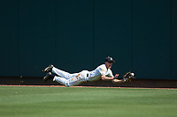 Army Black Knights center fielder Jacob Hurtubise (39) makes a diving attempt to catch the ball during the game against the North Carolina State Wolfpack at Doak Field at Dail Park on June 3, 2018 in Raleigh, North Carolina. The Wolfpack defeated the Black Knights 11-1. (Brian Westerholt/Four Seam Images)