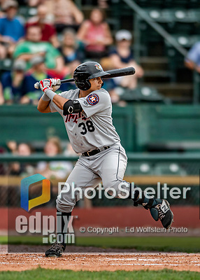 21 July 2019: Tri-City ValleyCat infielder Bryan Arias in action against the Vermont Lake Monsters at Centennial Field in Burlington, Vermont. The Lake Monsters rallied to defeat the ValleyCats 6-3 in NY Penn League play. Mandatory Credit: Ed Wolfstein Photo *** RAW (NEF) Image File Available ***