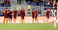Calcio, Serie A: Roma vs Juventus. Roma, stadio Olimpico, 14 maggio 2017. <br /> Roma's Radja Nainggolan, third from left, celebrates with teammates after scoring during the Italian Serie A football match between Roma and Juventus at Rome's Olympic stadium, 14 May 2017. Roma won 3-1.<br /> UPDATE IMAGES PRESS/Riccardo De Luca