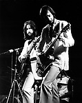 ERIC CLAPTON 1973 with Pete Townshend. Rainbow Theatre<br /> © Chris Walter