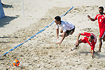 JALAL Sameh of Lebanon fights for the ball with BARAN Hazrat Gul (L) of Afghanistan during the Beach Soccer Men's Team Bronze Medal Match between Lebanon and Afghanistan on Day Nine of the 5th Asian Beach Games 2016 at Bien Dong Park on 02 October 2016, in Danang, Vietnam. Photo by Marcio Machado / Power Sport Images