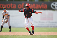 Batavia Muckdogs shortstop Marcos Rivera (8) leads off second base during a game against the West Virginia Black Bears on June 25, 2017 at Dwyer Stadium in Batavia, New York.  West Virginia defeated Batavia 6-4 in the completion of the game started on June 24th.  (Mike Janes/Four Seam Images)