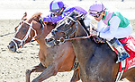 June 7, 2014: Close Hatches (pink cap), ridden by Joel Rosario, wins the Ogden Phipps Stakes on Belmont Stakes Day at Belmont Park in Elmont, New York. Bob Mayberger/ESW/CSM