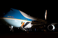 President Trump Returns to the White House<br /> <br /> President Donald J. Trump disembarks from Air Force One at Joint Base Andrews, Md., early Tuesday morning, Jan. 5,2021, upon his return from his trip to Georgia. (Official White House Photo by Tia Dufour)