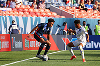 DENVER, CO - JUNE 3: Weston McKennie #8 of the United States moves with the ball during a game between Honduras and USMNT at EMPOWER FIELD AT MILE HIGH on June 3, 2021 in Denver, Colorado.