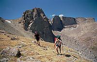 Hiking along mountain ridge<br />