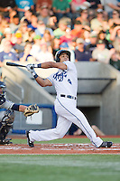 Gerard Hernandez (4) of the Hillsboro Hops at bat during a game against the Tri-City Dust Devils at Ron Tonkin Field in Hillsboro, Oregon on August 24, 2015.  Tri-City defeated Hillsboro 5-1. (Ronnie Allen/Four Seam Images)