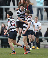 MCB vs Wallace High School | Thursday 5th March 2015<br /> <br /> Wallace celebrate during the 2015 Ulster Schools Cup Semi-Final between Methody and Wallace High School at the Kingspan Stadium, Ravenhill Park, Belfast, Northern Ireland.<br /> <br /> Picture credit: John Dickson / DICKSONDIGITAL