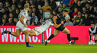 8th October 2021;  Swansea.com Stadium, Swansea, Wales; United Rugby Championship, Ospreys versus Sharks; Joe Hawkins of Ospreys is tackled by Jeremy Ward of Cell C Sharks