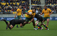 Australia's Taniela Tupou is tackled during the Bledisloe Cup rugby union match between the New Zealand All Blacks and Australia Wallabies at Sky Stadium in Wellington, New Zealand on Saturday, 27 July 2019. Photo: Mike Moran / lintottphoto.co.nz