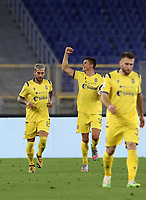 Football, Serie A: AS Roma - Hellas Verona Fc, Olympic stadium, Rome, July 15, 2020. <br /> Verona's Matteo Pessina (c) celebrates with his teammates after scoring during the Italian Serie A football match between Roma and Hellas Verona at Rome's Olympic stadium, on July 15, 2020. <br /> UPDATE IMAGES PRESS/Isabella Bonotto