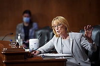 United States Senator Maggie Hassan (Democrat of New Hampshire) speaks during a US Senate Homeland Security and Governmental Affairs Committee oversight hearing examining the U.S. Customs and Border Protection (CBP) on Capitol Hill in Washington, U.S., June 25, 2020.<br /> Credit: Alexander Drago / Pool via CNP/AdMedia