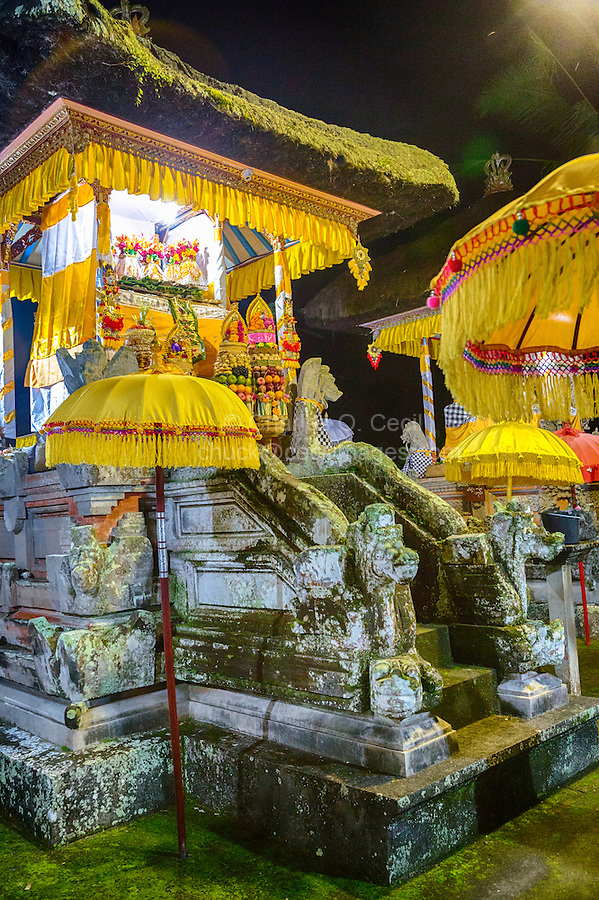 Bali, Indonesia.  Offerings to the Rice Goddess Sri in Hopes of a Good Harvest.  Pura Dalem Hindu Temple, Dlod Blungbang Village.