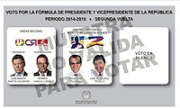 COLOMBIA. Junio -2014. Tarjetón Electoral para el 15 de Junio de 2014 cuando se realiza la segunda vuelta de las Elecciones Presidenciales en Colombia para el período constitucional 2014-2018. Los Candidatos son: Juan Manuel Santos Calderon (Candidato y actual Presidente de Colombia) y German Vargas Lleras (Vicepresidencia) por la Unidad Nacional and Oscar Ivan Zuluaga y Carlos Holmes Trujillo (Vicepresidencia) por partido Centro Democrático./ Electoral Card to use On June 15 2014 when takes place the second round of  Presidential Election in Colombia for the constitutional period 2014-2018. The candidates are: Juan Manuel Santos Calderon (Candidate and current President of Colombia) and German Vargas Lleras (Vice Chair) for National Unity party and Oscar Ivan Zuluaga and Carlos Holmes Trujillo (Vice Chair)  for the Democratic Center party. Photo: VizzorImage/