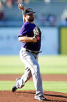 David Holmberg (19) of the Louisville Bats  delivers a warm up pitch prior to the game versus the Pawtucket Red Sox at McCoy Stadium on May 30, 2015 in Pawtucket, Rhode Island.<br /> (Ken Babbitt/Four Seam Images)
