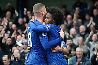 Chelsea's Ross Barkley and Willian celebrate their sides second goal<br /> <br /> Photographer Stephanie Meek/CameraSport<br /> <br /> The Premier League - Chelsea v Everton - Sunday 8th March 2020 - Stamford Bridge - London<br /> <br /> World Copyright © 2020 CameraSport. All rights reserved. 43 Linden Ave. Countesthorpe. Leicester. England. LE8 5PG - Tel: +44 (0) 116 277 4147 - admin@camerasport.com - www.camerasport.com