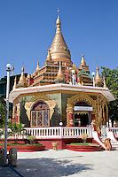 Myanmar, Burma.  Buddhist Shrine at the Zayar Thein Gyi Nunnery, near Mandalay.