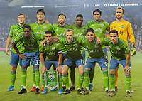 LOS ANGELES, CA - OCTOBER 29: Seattle Sounders FC starting eleven during a game between Seattle Sounders FC and Los Angeles FC at Banc of California Stadium on October 29, 2019 in Los Angeles, California.