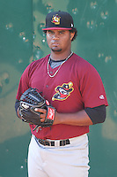 Quad Cities River Bandits pitcher Francis Martes (12) warms up in the bullpen prior to a Midwest League game against the Wisconsin Timber Rattlers on July 17th, 2015 at Fox Cities Stadium in Appleton, Wisconsin. Quad Cities defeated Wisconsin 4-2. (Brad Krause/Four Seam Images)