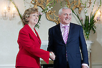 14/7/07  Taoiseach Bertie Ahern recieves his seal of office from President Mary McAleese at Aras An Uachtarain Picture:Arthur Carron/Collins