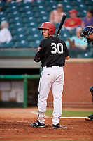 Chattanooga Lookouts catcher Brian Olson (30) at bat during a game against the Jackson Generals on May 9, 2018 at AT&T Field in Chattanooga, Tennessee.  Chattanooga defeated Jackson 4-2.  (Mike Janes/Four Seam Images)