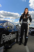 Sept 8, 2012; Clermont, IN, USA: NHRA pro mod driver Leah Pruett during qualifying for the US Nationals at Lucas Oil Raceway. Mandatory Credit: Mark J. Rebilas-