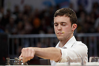 MELBOURNE, 26 MAY - Matthew Perger from Australia competes in the final of the World Barista Championship 2013 before being announced as the runner-up at the Melbourne Show Grounds in Melbourne, Australia. Photo Sydney Low / syd-low.com