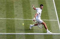 2nd July 2021; Wimbledon, SW London. England; Wimbledon Tennis Championships, day 5;   Novak Djokovic of Serbia during the mens singles third round match against Denis Kudla of the United States