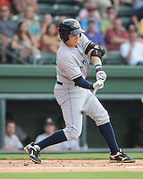 Infielder Dante Bichette, Jr. (19) of the Charleston RiverDogs, a New York Yankees affiliate, in a game against the Greenville Drive on June 21, 2012, at Fluor Field at the West End in Greenville, South Carolina. Charleston won, 2-1. Bichette is the Yankees' No. 6 prospect, according to Baseball America and was a first-round draft pick in 2011. (Tom Priddy/Four Seam Images)