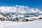 Oesterreich, Salzburger Land, Pinzgau, Dienten am Hochkoenig: Wintersportregion vorm Hochkoenig  | Austria, Salzburger Land, Pinzgau, Dienten am Hochkoenig: wintersport resort and Hochkoenig mountains