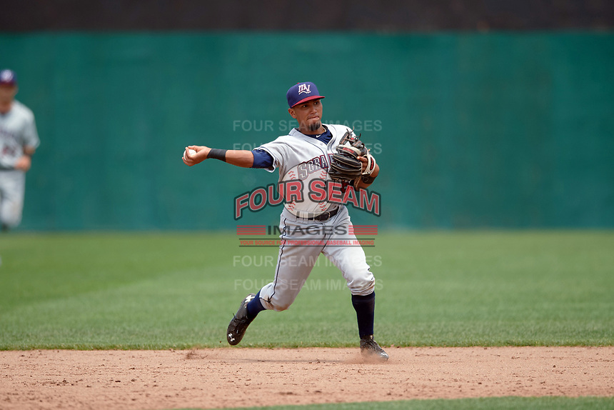 Mahoning Valley Scrappers shortstop Elvis Perez (6) throws to first base during the first game of a doubleheader against the Auburn Doubledays on July 2, 2017 at Falcon Park in Auburn, New York.  Mahoning Valley defeated Auburn 3-0.  (Mike Janes/Four Seam Images)